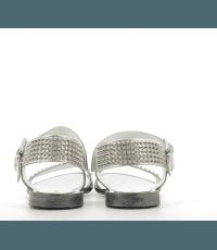 Sandales cloutées argent en cuir argent 5423 - Garrice collection