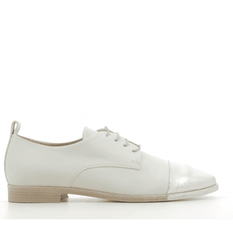 Derbies en cuir argent et blanc 5279 - Garrice collection