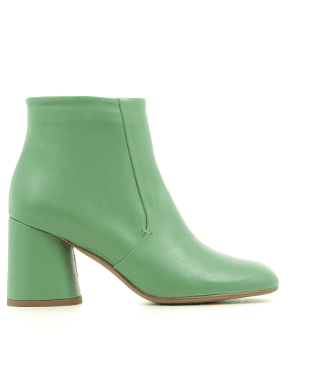 Bottines à talon en cuir vert B3523 VERT - Garrice collection