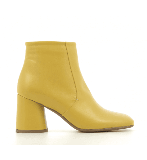 Bottines à talon en cuir vert B3523 JAUNE- Garrice collection