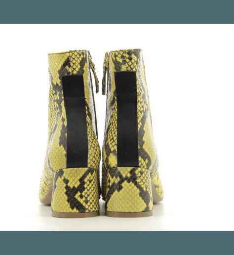 Bottines à talon en cuir jaune B3494 - Garrice collection