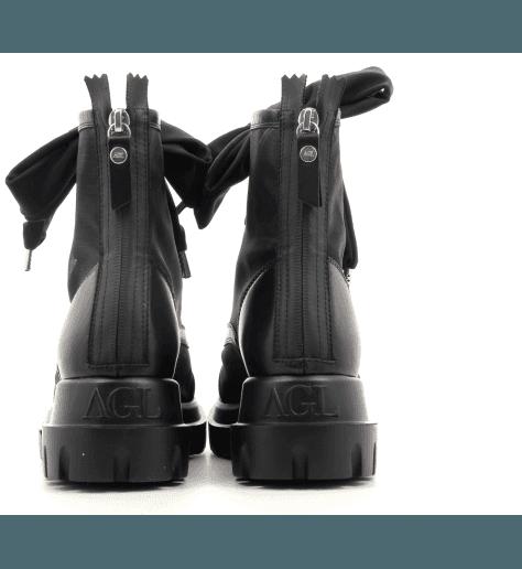 Bottines à semelle épaisse en cuir et résille noir- AGL