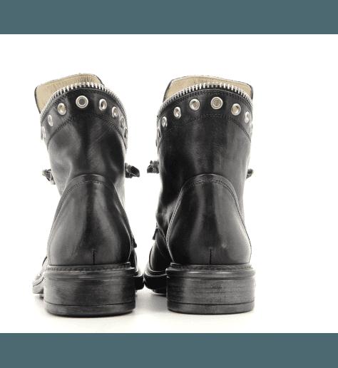 Bottines plates en cuir noir 5329 NOIR - Garrice Collection