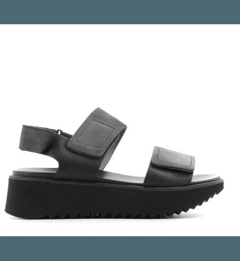 Sandales plateformes en cuir noir E9-072- Lofina