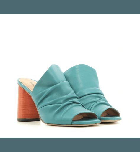 Mules en cuir bleu à talon haut orange Halmanera - GLORIA02