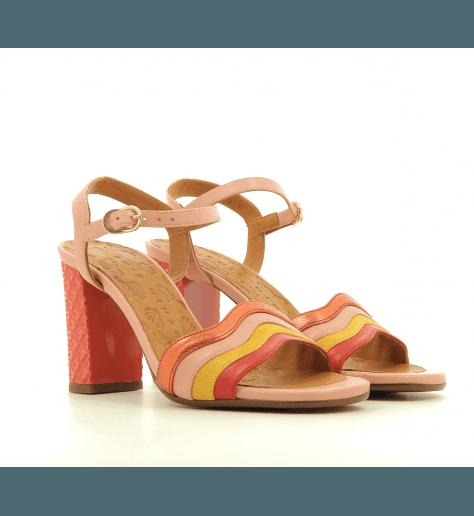 Sandales à talon structuré en cuir multicolore rose CHIE MIHARA - BAOLA