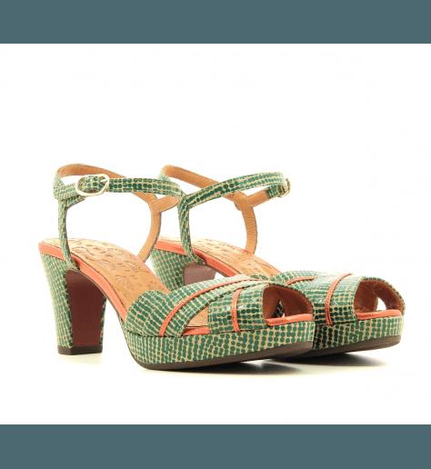 Sandales petits talons en cuir moucheté vert Chie Mihara - NALU