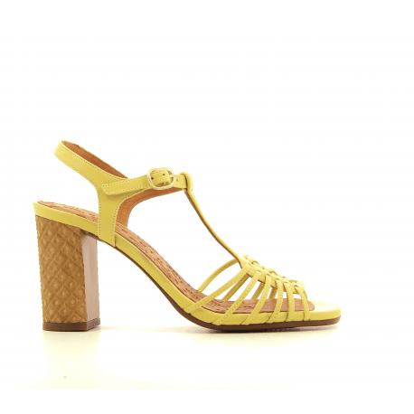 Sandales à talon structuré en cuir jaune CHIE MIHARA - BANDIDA