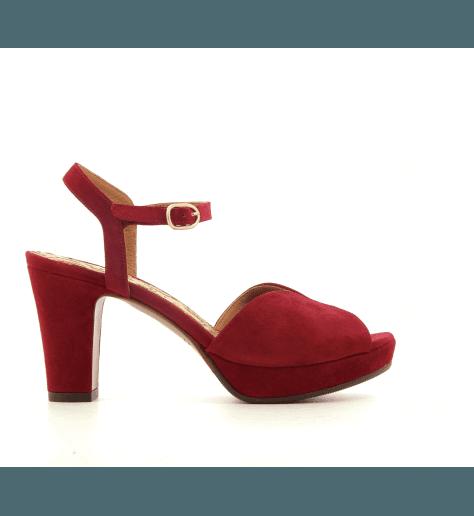 Sandales à talons avec patins en veau velours rouge Chie Mihara - ELODEA RED