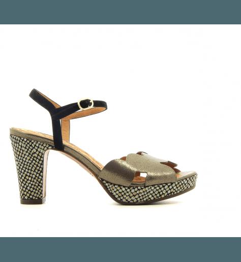 Sandales à talons avec patins en cuir bronze Chie Mihara - ELIS BRONCE