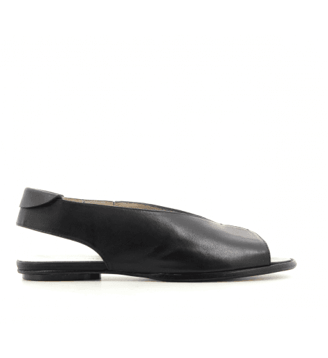 Sandales plates en cuir noir 2314- Garrice Collection