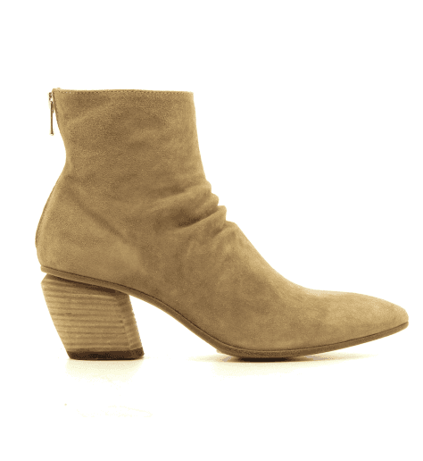 Bottines en veau velours beige SEVERINE 008 - Officine Creative