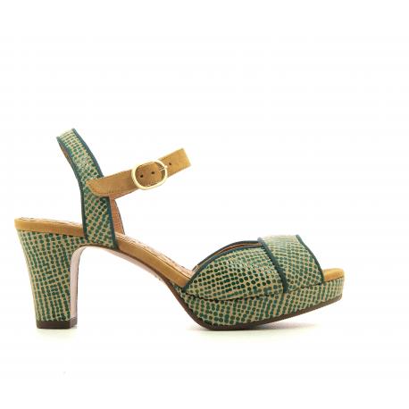 Sandales petits talons en cuir moucheté vert Chie Mihara - NATILLA1
