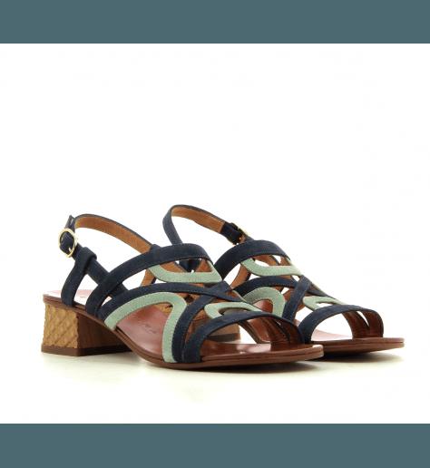 Sandales à petits talons marine et bleu ciel Chie Mihara - QUESADA