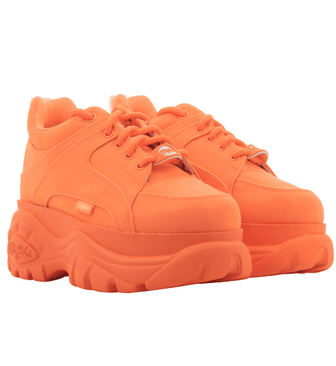 Baskets en cuir orange fluo et semelle épaisse Buffalo London - 1337 ORANGE