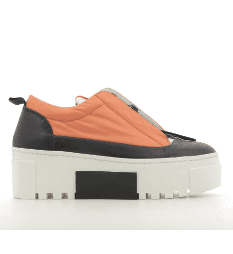 Baskets en toile et cuir orange et noir vic Matie - 7162D