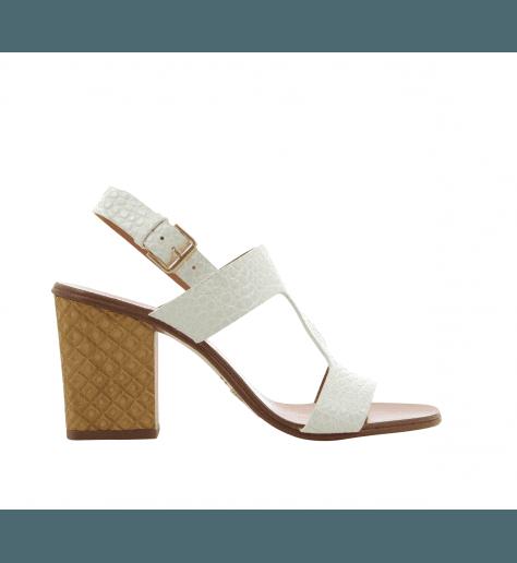 Sandales à talons structurés en cuir façon reptile blanc Chie Mihara - HEIN