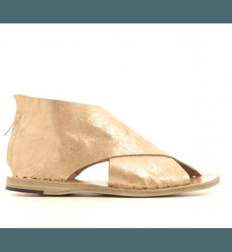 Sandales plates en cuir vieilli rose métal Officine Creative - ITACA 006R