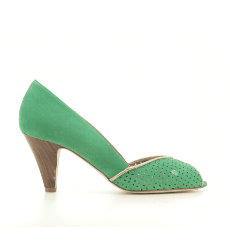 Escarpins à bout ouvert en veau velours vert New Lovers shoes - KIKI GREEN
