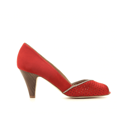 Escarpins à bout ouvert en veau velours rouge New Lovers shoes - KIKI CHERRY