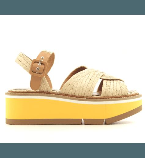 Sandales à semelle épaisse en raphia beige Clergerie Paris - AQUA