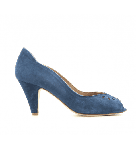 Escarpins à bout ouvert en veau velours marine New Lovers shoes - LARA NAVY