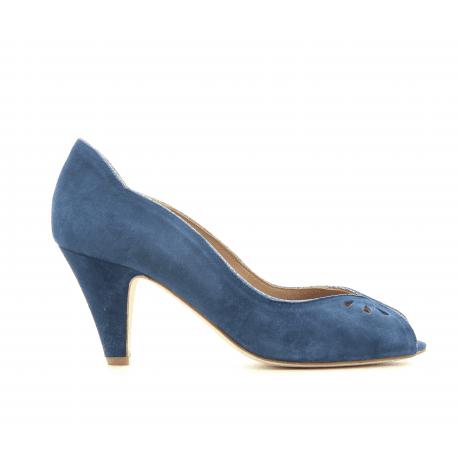 Escarpins à bout ouvert en veau velours marine New Lovers shoes - LARA NAVY