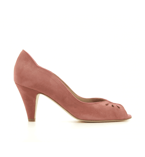 Escarpins à bout ouvert en veau velours rose New Lovers shoes - LARA NAVY