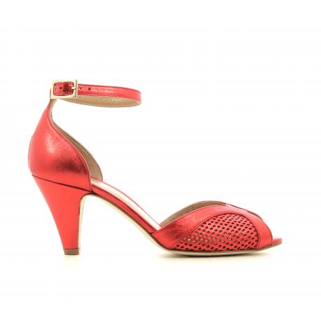 Escarpins à bout ouvert en cuir métallisé rouge New Lovers shoes - APRIL RED
