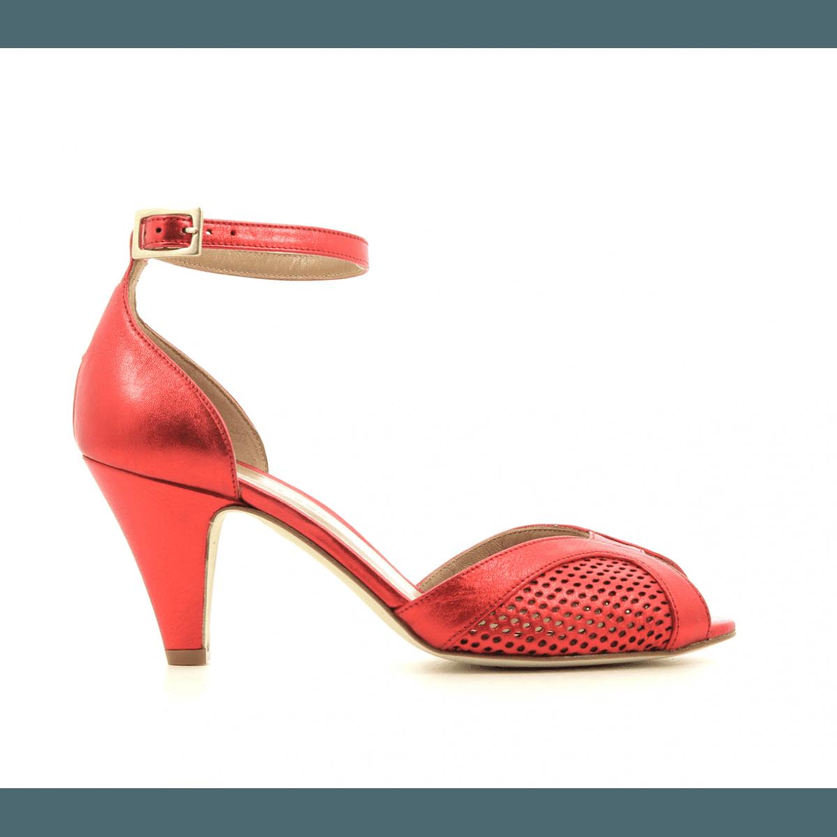 576d8c8c45b441 Escarpins à bout ouvert en cuir métallisé rouge New Lovers shoes - APRIL RED