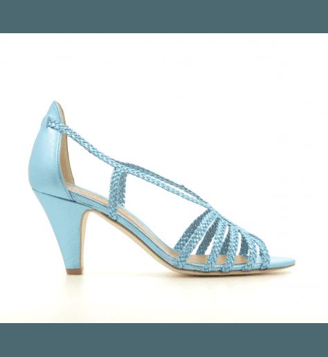 Sandales en cuir tressé métallisé bleu New Lovers shoes - ANAT SKY