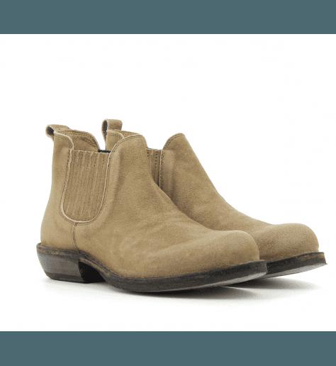 Bottines / boots plates en daim camel Fiorentini Baker - CARIS CAMEL