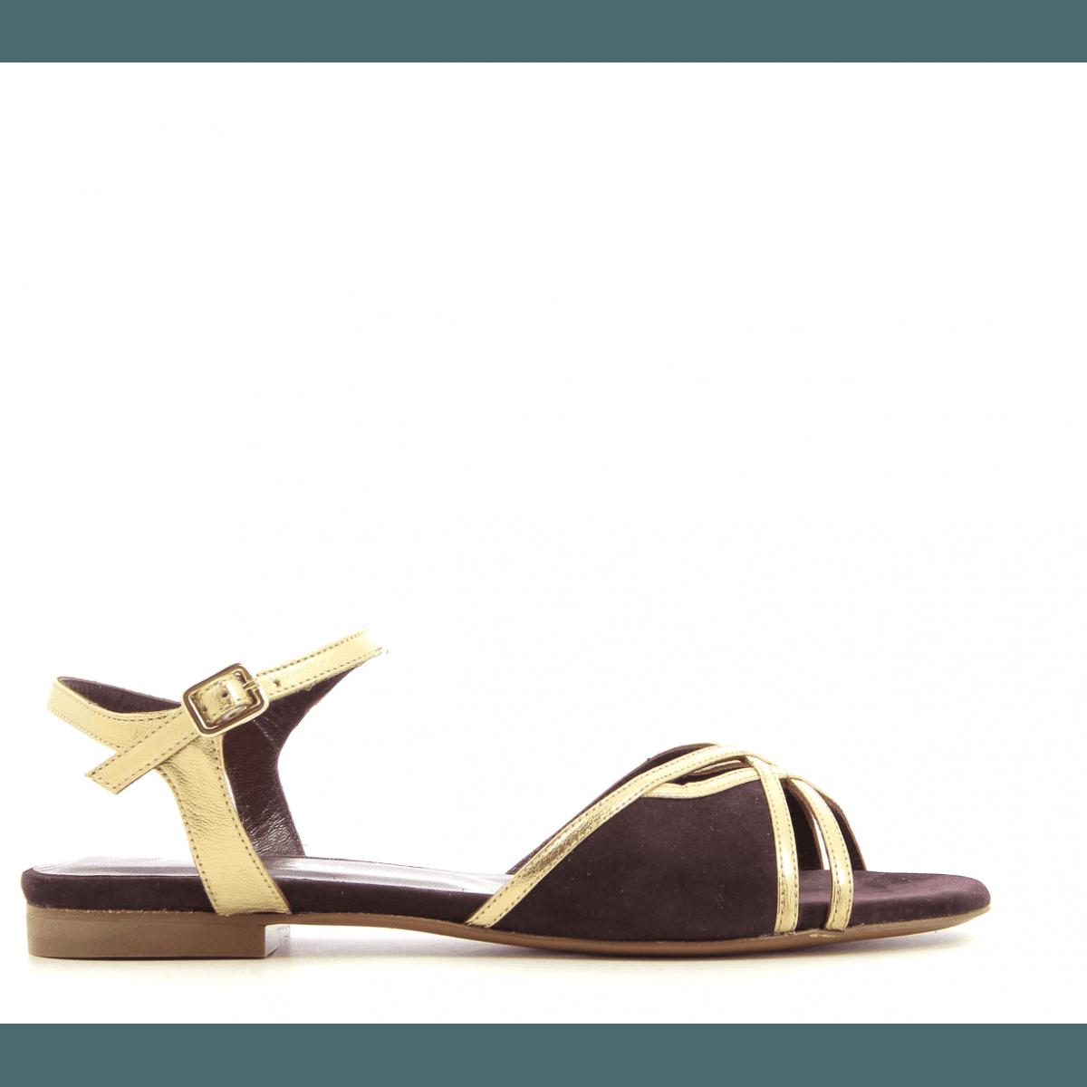 Sandales plates en veau velours bordeau Avril Gau -  PRADO ES2