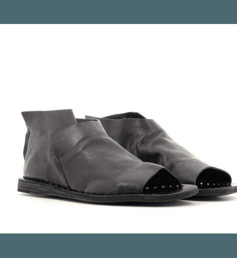 Sandales plates en cuir souple noir Officine Creative - ITACA 005NERO