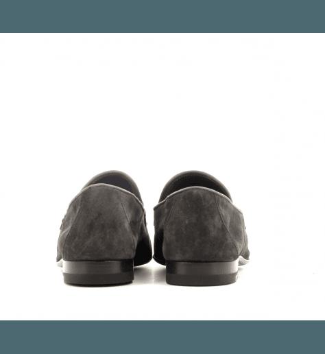 Mocassins plats en daim gris Henderson Baracco - D003