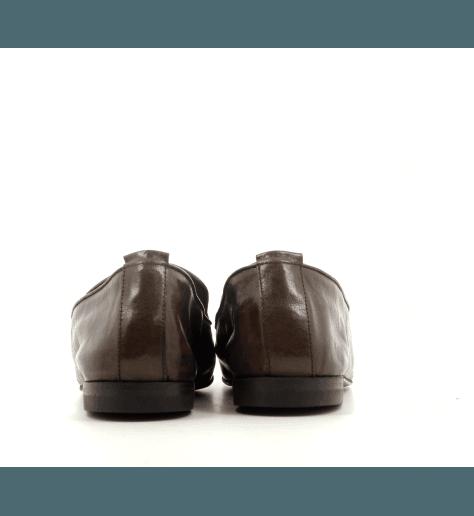 Mocassins plats à bout carré en cuir marron Henderson Baracco - D033