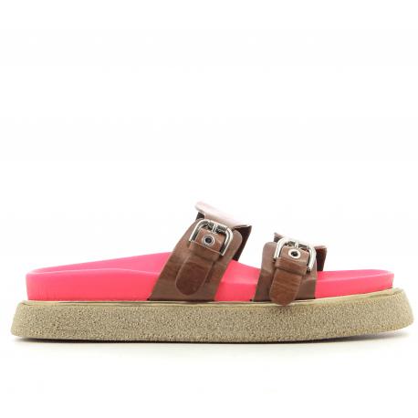 Sandales à semelles épaisses en cuir cognac Premiata - M5285