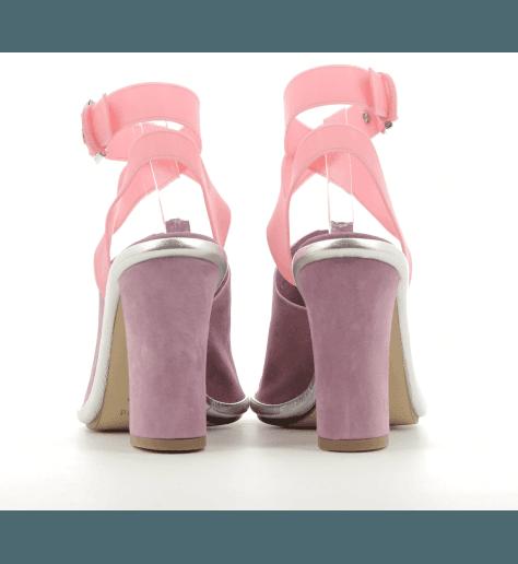 Sandales en veau velour rose à talon épais Premiata - M5330