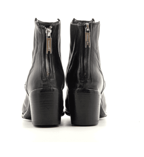 Bottines à talon bottier en cuir noir Lemargo - BU01A