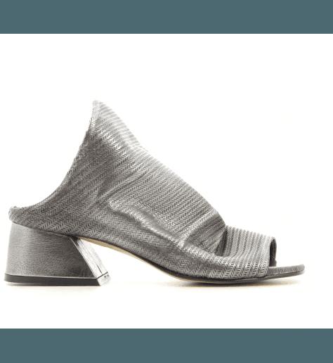Mules à talons en cuir anthracite POESIE VENEZIANE - JF00 ANTHRACITE