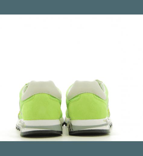 Baskets en cuir et textile vert fluo PREMIATA - LUCY-D 3727