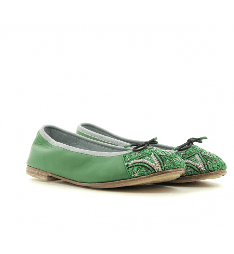 Ballerines  en cuir vert Meher Kakalia - BIZI BALLET GREEN