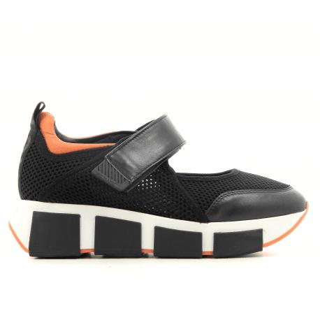 Baskets en textile et cuir orange et noir vic Matie - 7178D