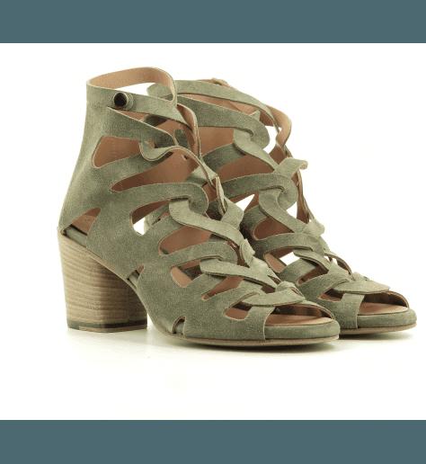 Sandales à talon bottier en suede vert kaki Alberto Fasciani - XENIA 52028