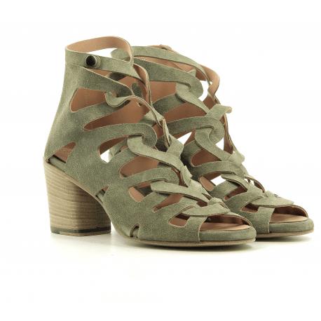 Sandales à talon bottier en cuir vert kaki Alberto Fasciani - XENIA 52028