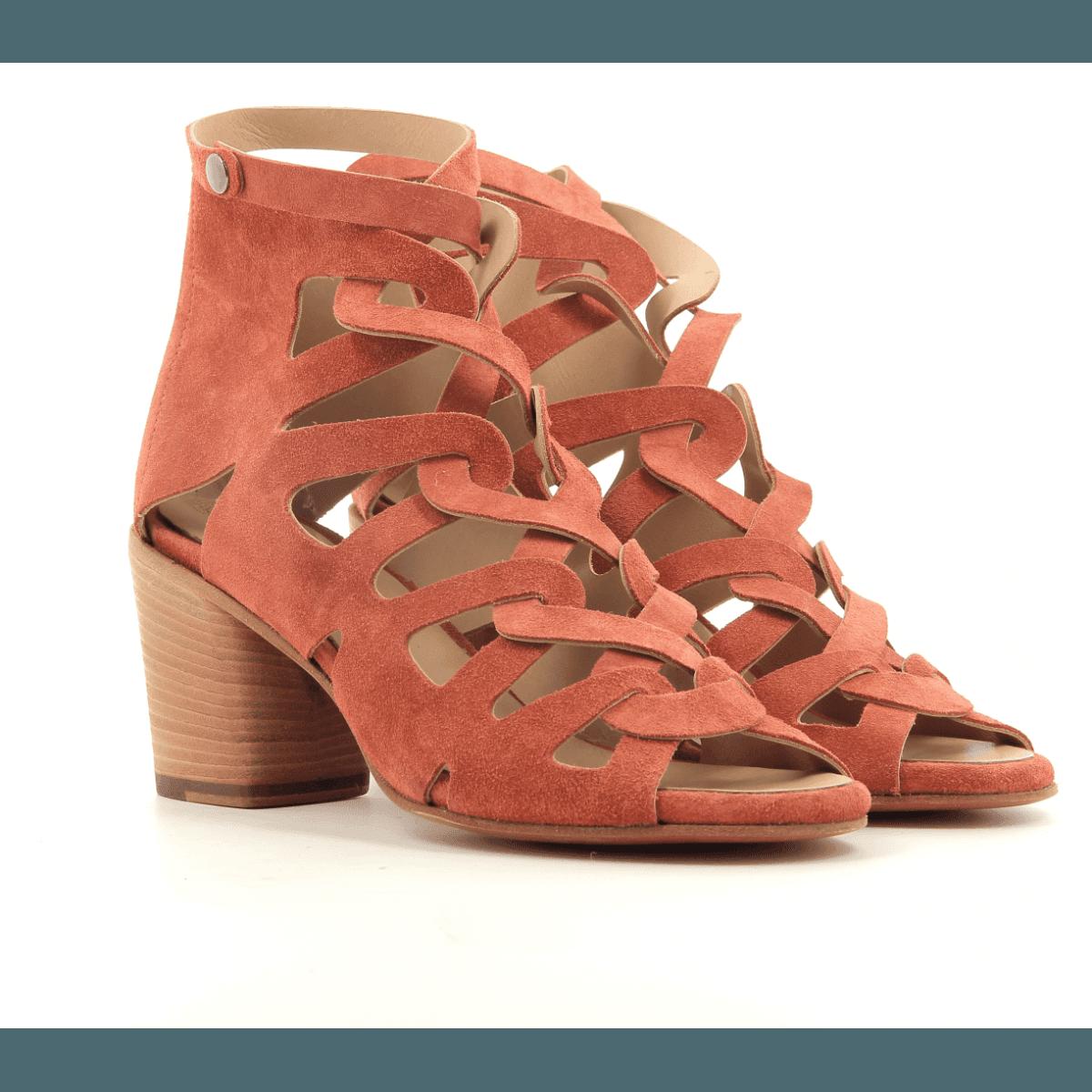 Sandales à talon bottier en suede orange Alberto Fasciani - XENIA 52028