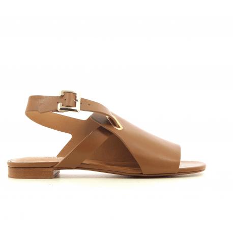 Sandales plates en cuir camel Clergerie Paris - ADA
