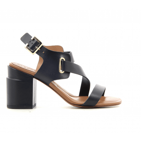 Sandales à talons épais en cuir marine Clergerie Paris - ALBA1
