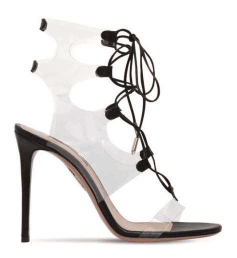 Sandales à talon aiguilles en cuir noir Aquazzura - MILOS SANDAL105