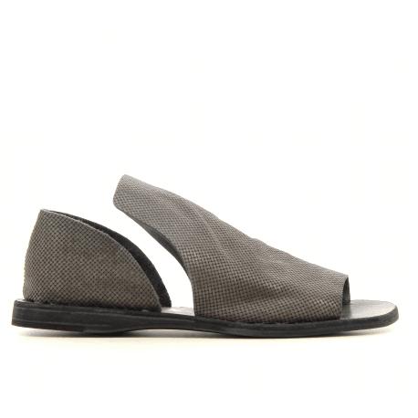 Sandales plates en cuir souple anthracite Officine Creative - ITACA 023